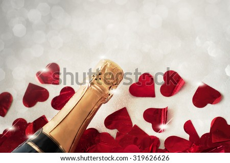 Close-up of champagne bottle - stock photo