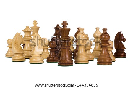 Close-up of chess pieces - stock photo