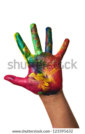 Close up of child hands painted with watercolors, on white background - stock photo