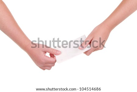 Close-up of childrens hands passing a blank note - stock photo