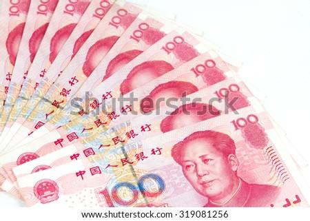 Close up of China bills in white background - stock photo