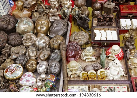 Close up of Chinese antiques for sale at Dongtai Rd market Shanghai - stock photo