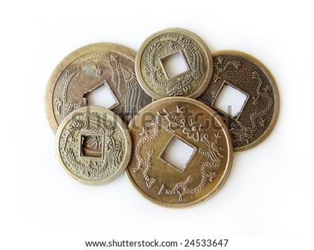 Close-up of chinese feng shui coins for good fortune and success.