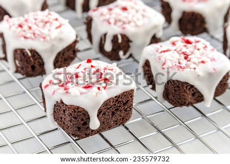 Close up of chocolate brownie bites covered with white icing and candy cane sprinkles sitting on wire baking rack - stock photo