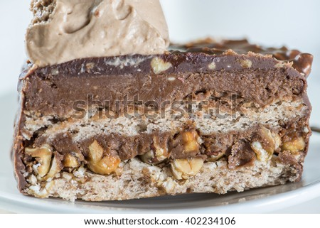 close-up of chocolate cake incision