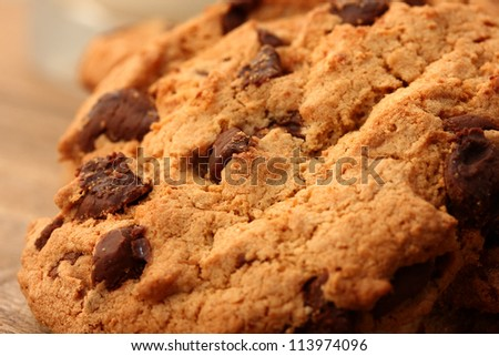 close up of chocolate cookies - stock photo
