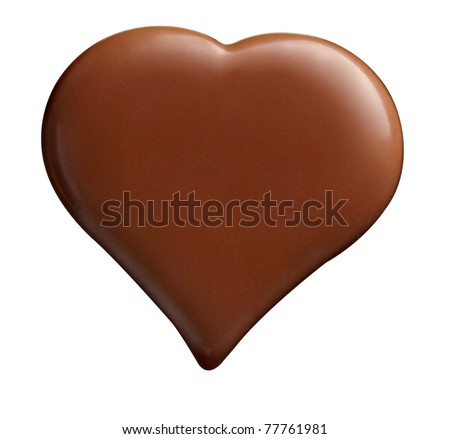 close up  of chocolate heart shape on white background - stock photo