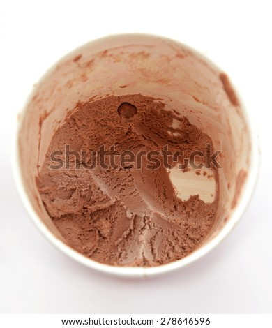close up of chocolate ice cream in a round box - stock photo