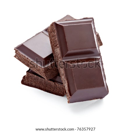 close up  of chocolate pieces on white background - stock photo