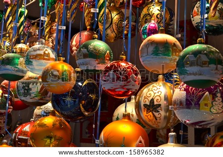 Close up of Christmas market stall in Basel, Switzerland - stock photo