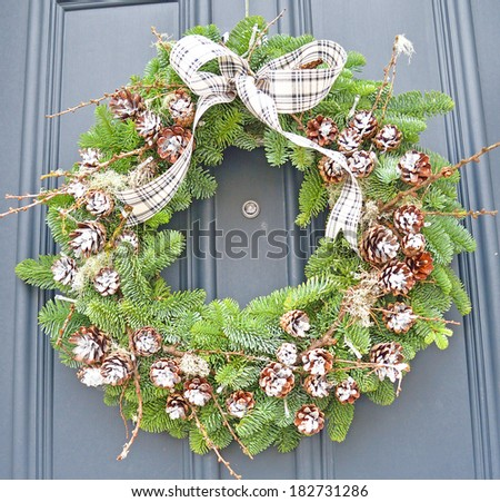 Close-up of Christmas wreath - stock photo