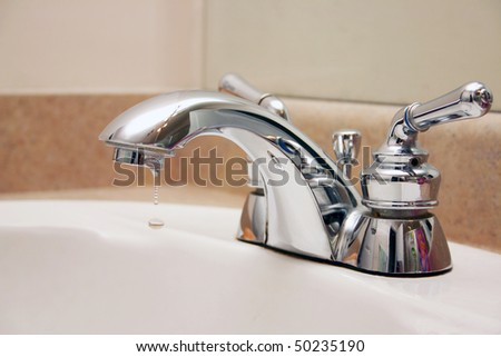 Close-up of chrome  faucet or tap.