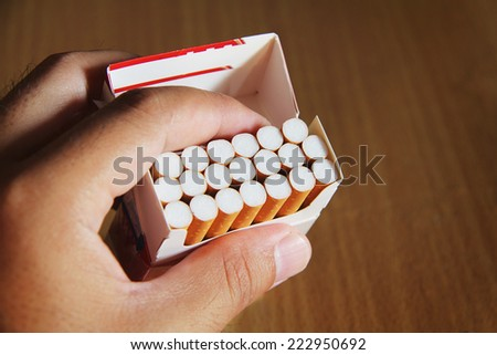 Close-up of cigarettes in pack - stock photo