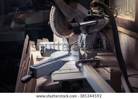 Close up of circular saw in a workshop - stock photo