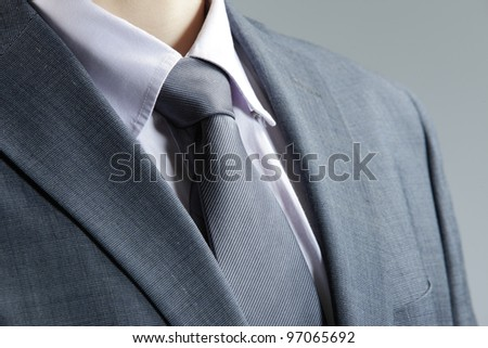 Close up of classic business attire with  tie and elegant blazer. - stock photo
