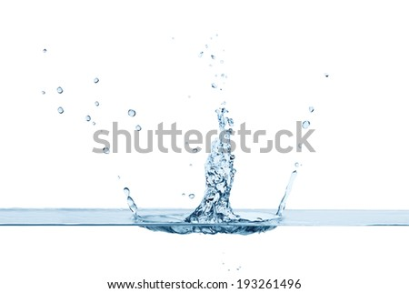 Close up of clean water splash and air bubbles, isolated. Concept of environment and water element - stock photo