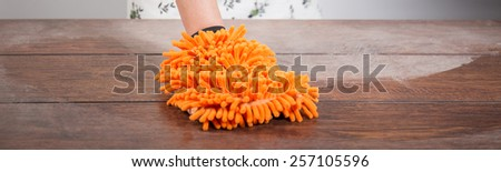 Close-up of cleaning effect on wooden wheat - stock photo