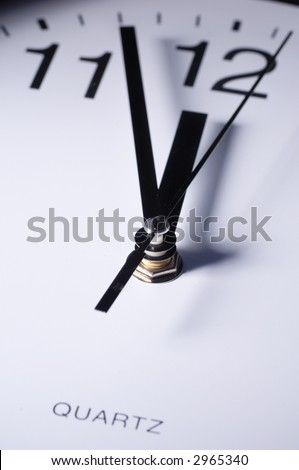 Close up of clock hands