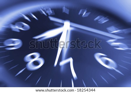 Close Up of Clock in Blue Tone - stock photo