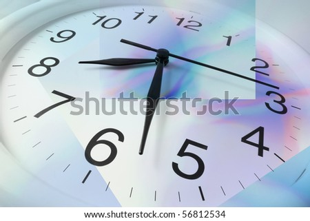 Close Up of Clock with Digital Background - stock photo