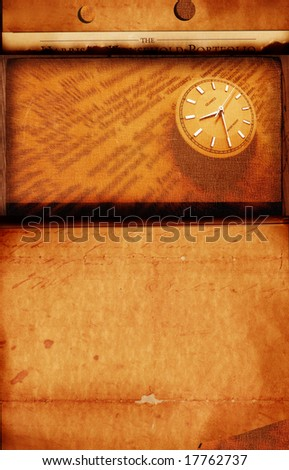 Close up of clock with old textured background