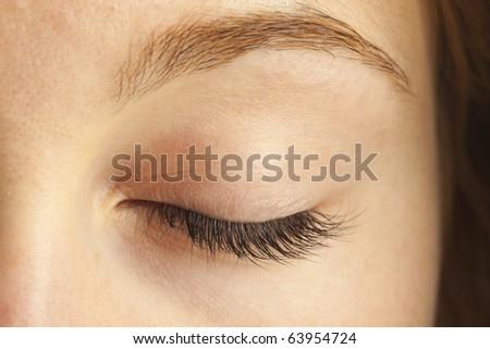 Close-up of closed eye - stock photo