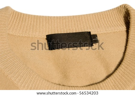 close-up of clothing label with L size - stock photo