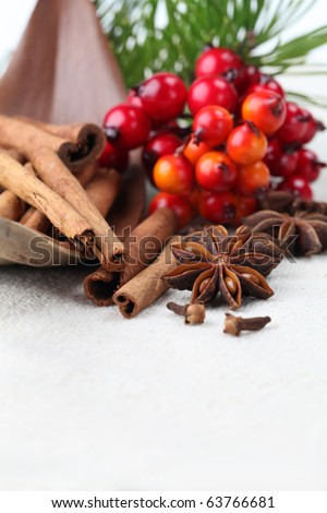Close-up of cloves, anise and cinnamon with Christmas decorations. Shallow dof - stock photo
