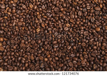 Close-up of coffee beans background. - stock photo