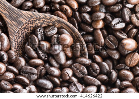 Close-up of coffee beans background(selective focus) - stock photo