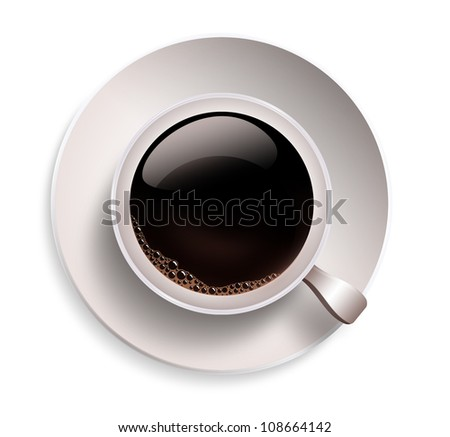 close up of coffee cup on a white background