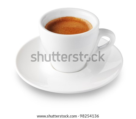 close up of coffee cup on white background - stock photo