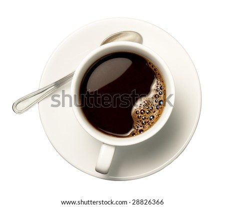 close up of coffee cup on white background with clipping path - stock photo