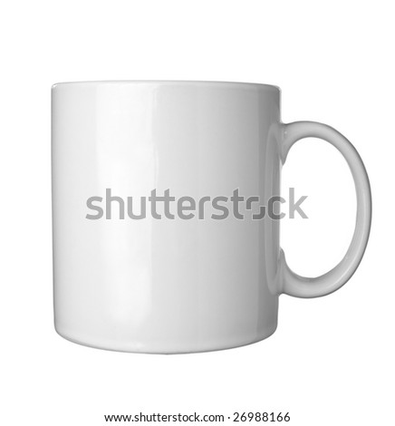 close up of coffee cups on white background with clipping path - stock photo