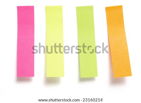 close up of collection notes placeholders for book on white background with clipping path - stock photo