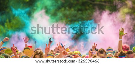 Close-up of color marathon. - stock photo