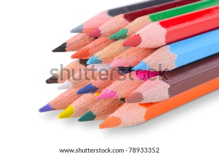 Close up of color pencils with different color isolated on white background. - stock photo
