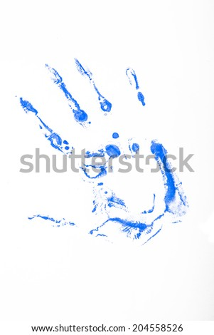 Close up of colored blue hand print on white background  - stock photo