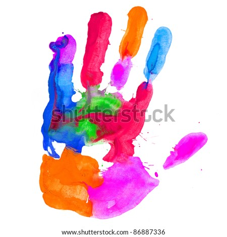 Close up of colored hand print on white background - stock photo