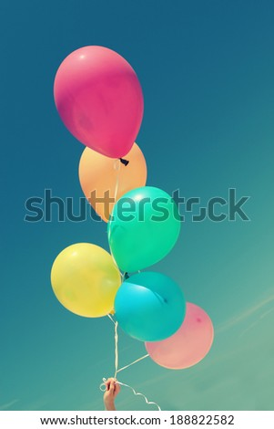 close up of colorful balloons - stock photo