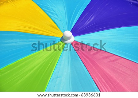 Close up of colorful beach umbrella, useful as a background pattern - stock photo