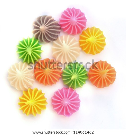 "Close-up of colorful candy. ""A-lua"" Thai style handmade candy sweet dessert . - stock photo"