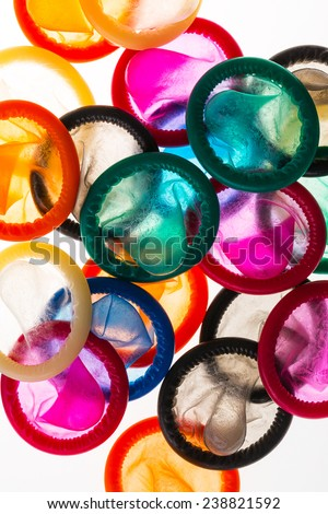 Close up of colorful condoms - stock photo