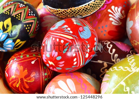close up of colorful  Easter egg - stock photo