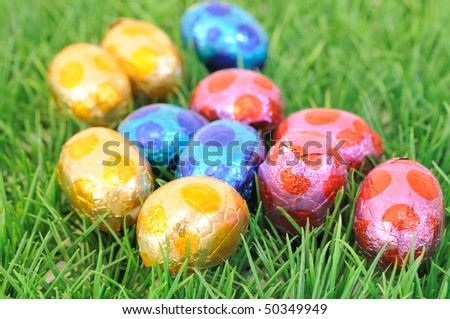 close-up of colorful easter eggs for your easter design - stock photo