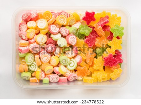 Close-up of colorful fruit jelly candy - stock photo