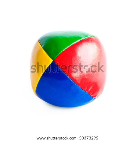 Close-up of colorful juggling ball isolated on white background