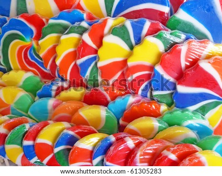 Close up of colorful lollipops - stock photo
