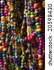 Close up of colorful necklace pile - stock photo