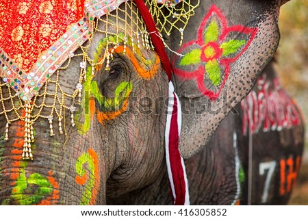 Close up of colorful painted elephant head at annual celebration event in Sukhothai, Thailand.  - stock photo